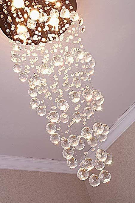 Saint Mossi Modern K9 Crystal Spiral Raindrop Chandelier Lighting