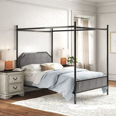 Amazon Com Aufank Full Size Metal Canopy Bed Frame Platform With Vintage Headboard And Footboard No Box Spr Canopy Bed Frame Bed Frame Bed Frame And Headboard