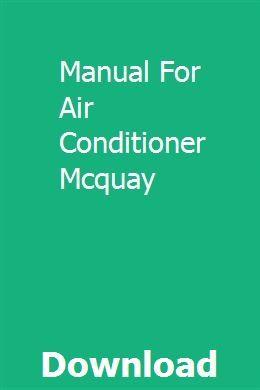 Manual For Air Conditioner Mcquay Mitsubishi Air Conditioner