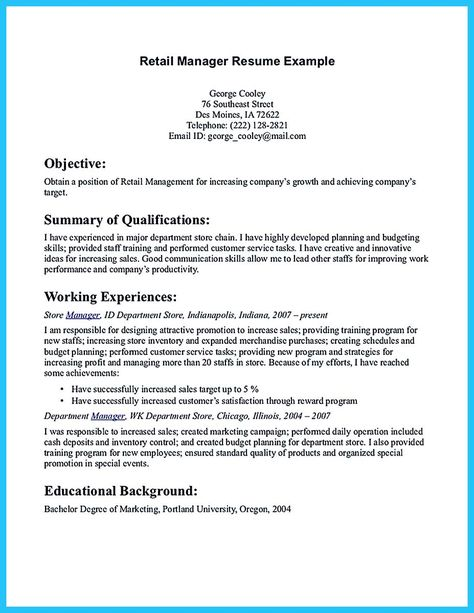 Restaurant Manager Resume Example Resume examples, Resume - Retail Resume Objectives