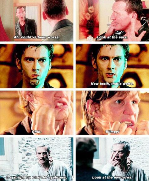 Ears-Teeth-Chin-Eyebrows-And Now Tongue Serie Doctor, Doctor Who Quotes, Don't Blink, Tenth Doctor, Torchwood, Geronimo, Bad Wolf, Film Serie, David Tennant
