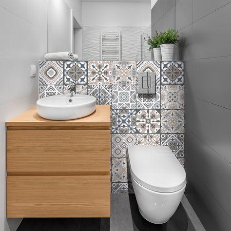 24 Stickers Carreaux De Ciment Azulejos Giacomo Diy Bathroom Decor