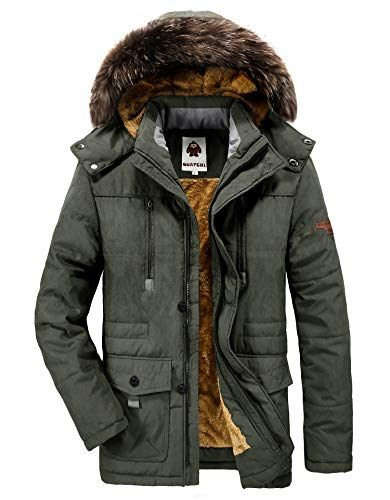 Herren Warme #Winterjacke #Parka #Jacke mit Fell