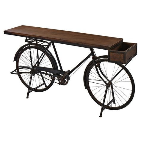 Description Pedal Bike Bar Console Table If the flutters of excitement that you get in your heart sound more like the spokes of a bicycle wheel, this is the console table for you. Constructed using…