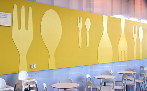 Wall graphics for the dining hall.