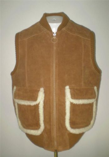 Mens Vintage Envoy Suede Leather Ski Vest Insulated Zip Front Brown Size XL