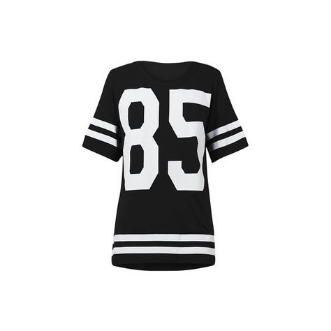 NEW WOMENS LADIES AMERICAN FOOTBALL TOP 85 PRINT VARSITY COLLEGE... ❤ liked on Polyvore featuring tops and t-shirts