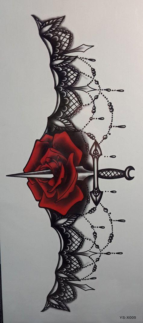 Grashine fake temp tattoo stickers for women's chest Jewelry design with rose fl. - Grashine fake temp tattoo stickers for women's chest Jewelry design with rose fl… - Badass Tattoos, Sexy Tattoos, Body Art Tattoos, Tribal Tattoos, Sleeve Tattoos, Cool Tattoos, Wing Tattoos, Tatoos, Celtic Tattoos