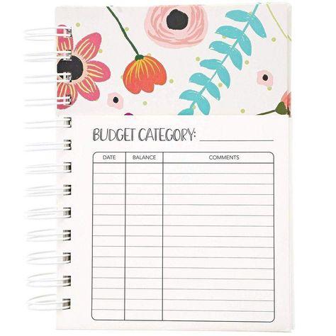 Floral Monthly Budget Planner, Bill Organizer with 24 Pockets, Debt Tracker (5x7 In)