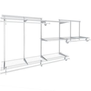 Closetmaid Shelftrack 5 Ft To 8 Ft 12 In D X 96 In W X 78 In H Nickel Steel Closet System Organi In 2020 Wire Closet Systems Closet Kits Closet Organizing Systems