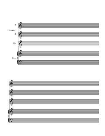 Choir Blank Sheet Music Template Ssa And Piano Title Page Blank