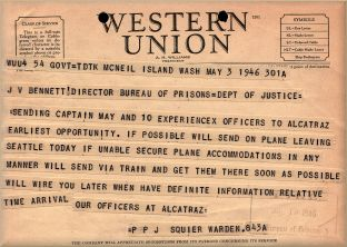 A Telegram From Mcneil Island Federal Penitentiary Advising The