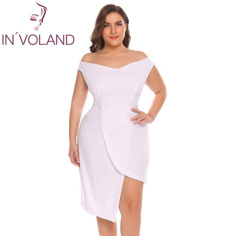 IN VOLAND Plus Size Off Shoulder Women Dress Robe Asymmetrical Party  Vestidos Casual Summer Dress Solid Women Party Dresses 1f1832e22b63