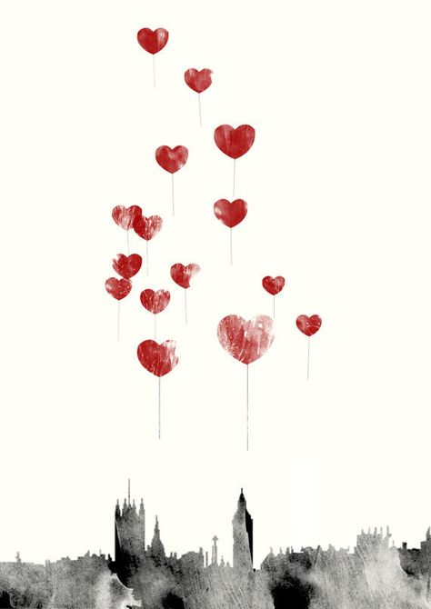 Love in London  Red Heart Balloons Over London by CTIllustration, £16.00