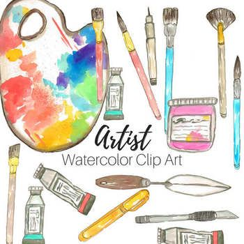 Watercolor Artist Art Supplies Clip Art V 2020 G