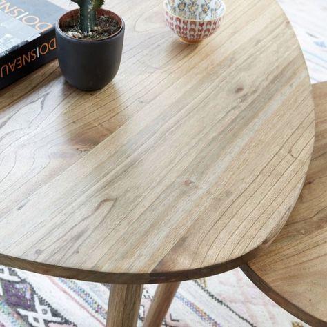 Table basse ronde en bois de mindy 100 OSLO, mobilier de