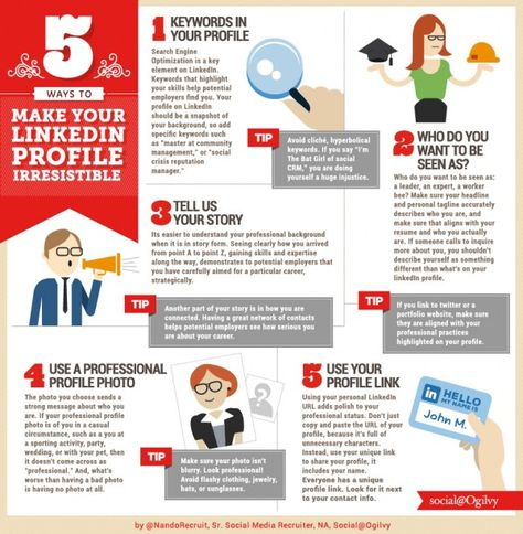 5 Tips to Make Your LinkedIn Profile Irresistible INFOGRAPHIC on - professional profile