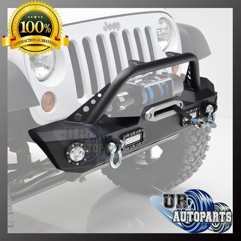 Front Bumper With Led Lights D Rings Winch Plate For 07 17 Jeep