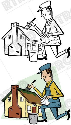 House Painter Vintage Cartoon Character Design Stock Images Free