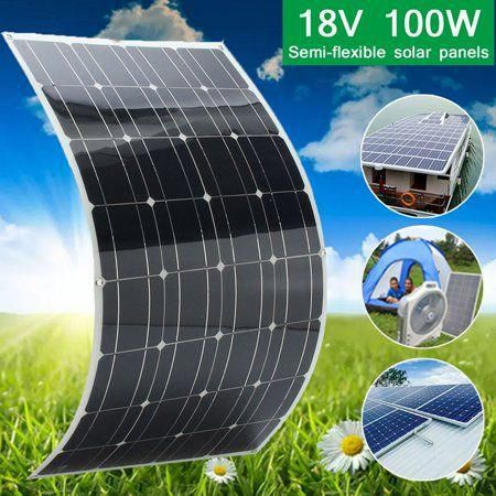 Elfeland 2pcs 18v 100w Flexible Solar Panel Solar Cell With 1 5m Cable Portable Solar Panel For Motorh In 2020 Solar Panels Flexible Solar Panels Portable Solar Panels