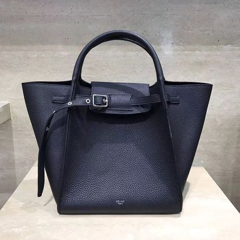 Celine Small Big Bag With Long Strap in Grained Calfskin Black 2018