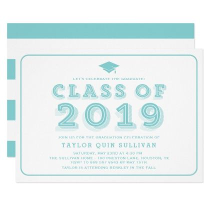 Retro Aqua Typography Class Of 2019 Graduation Invitation Zazzle