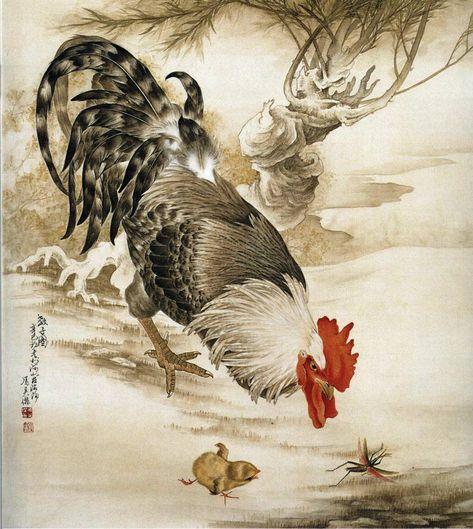 Китайская живопись – Петухи, куры,