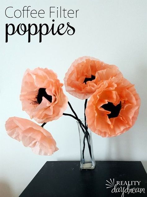 Filter Poppies Make genuine-looking poppies with coffee filters and food coloring! DIY Tutorial Craft {Reality Daydream}Make genuine-looking poppies with coffee filters and food coloring! Coffee Filter Art, Coffee Filter Crafts, Coffee Filter Flowers, Coffee Crafts, Coffee Filter Wreath, Coffee Art, Coffee Filter Projects, Coffee Mugs, Espresso Coffee