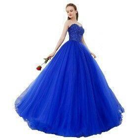 Vestido De 15 Años Largo Color Azul Rey En 2019 Vestidos