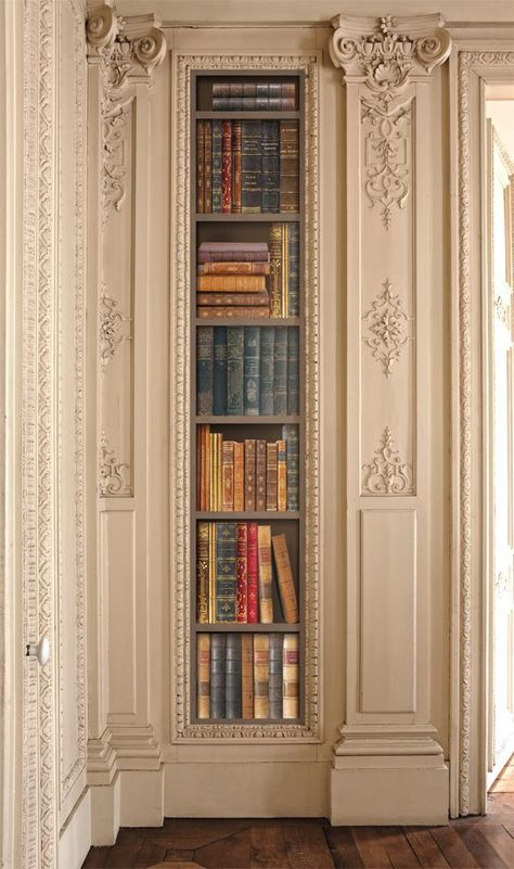 French Trompe l'oeil wallpaper by Christophe Koziel. it really is such a dissapointment to find out it's wallpaper and not an actual built in bookcase with nice hardcover books. House Inspo, Built In Bookcase, Home, House Design, Future House, Beautiful Homes, Interior Design, House Interior, My House
