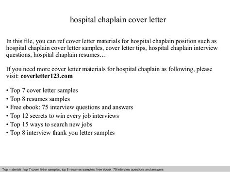 hospital chaplain cover letter In this file, you can ref cover - Bartender Sample Resume