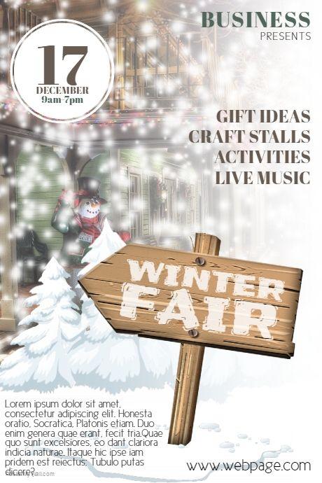 winter fair flyer template postermywall free winter flyer templates pinterest