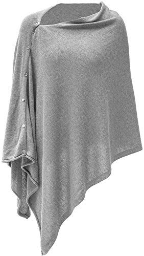 Chic Womens Cashmere Versatile Button Poncho Sweater