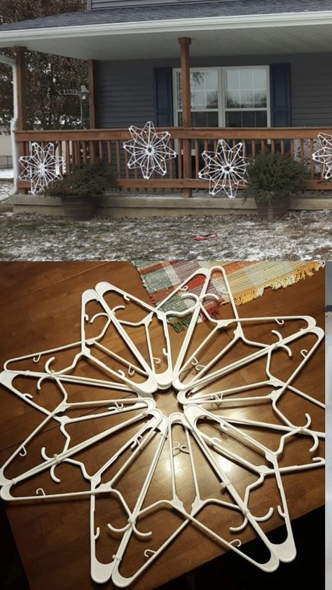 Snowflakes from hangers Homemade Christmas, Simple Christmas, Winter Christmas, Christmas Holidays, Christmas Ornaments, Christmas Porch, Outdoor Christmas Wreaths, Diy Christmas Tree Topper, Cute Christmas Ideas