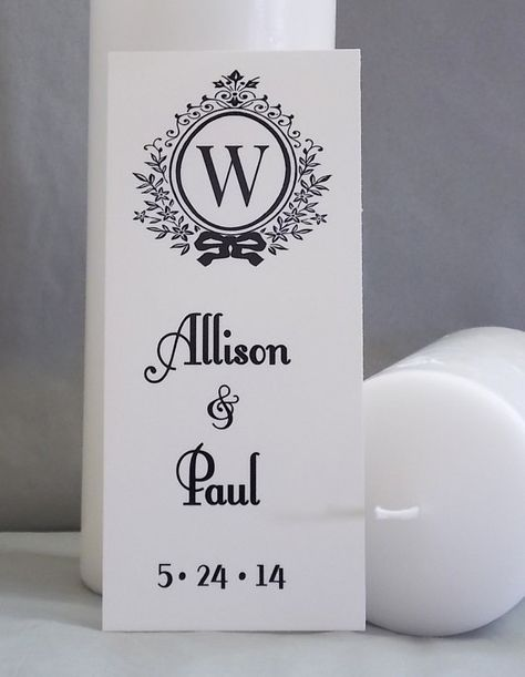 Personalized The Whitney Unity Wedding Candle Decal, DIY Wedding