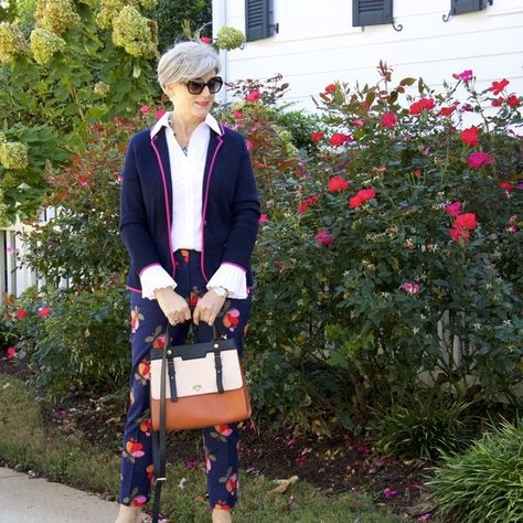 Don't Shy Away from Printed Pants - Chic Ways To Wear Blazers for Women Over 50 - Photos