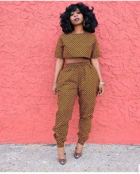 African print Crop top and High Waist Pants Piece Set / Ankara /African Clothing/African Fashion/Ankara Clothing - African Fashion Ankara, Latest African Fashion Dresses, African Print Dresses, African Print Fashion, Fashion Prints, African Clothes, Nigerian Fashion, Africa Fashion, African Prints