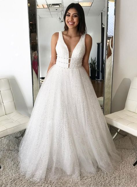 Chic A Line Prom Dresses Long White Straps Modest Prom Dress Evening