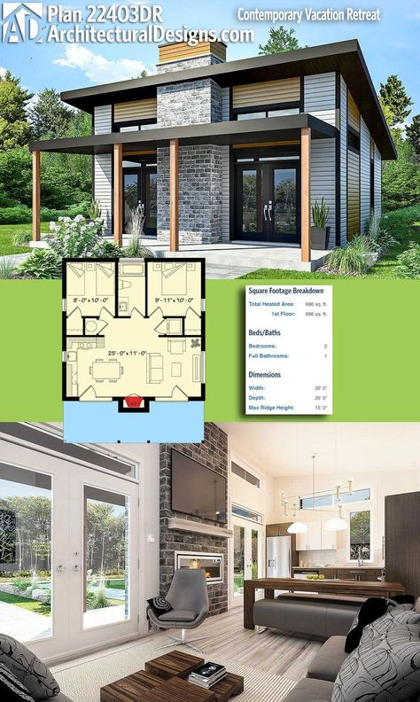 Modern Tiny House Plan 22403DR gives you 680+ square feet of heated living space.