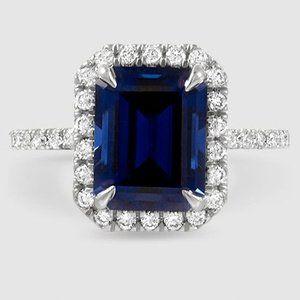 18k White Gold Waverly Diamond Ring 1 2 Ct Tw Blue Saphire Rings Engagement Rings Sapphire Gemstone Engagement Rings
