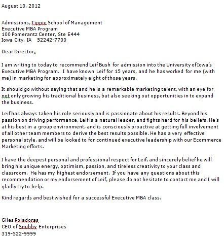 internship recommendation letter examples