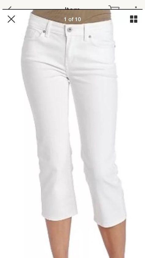 e9f118bac74f Levi's Cuffed White Stretch Capri's Women's Jeans Size 30 X 22 NWT #Levis  #CapriCropped