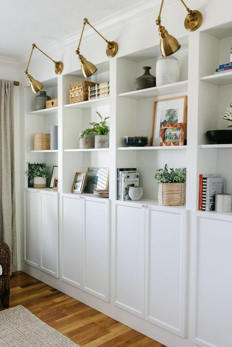 Ikea Billy Bookcase Hack, Bookcase Wall, Bookshelves Built In, Billy Bookcases, Billy Bookcase Office, Bedroom With Bookshelves, Ikea Hemnes Bookcase, Ikea Billy Hack, Basement Built Ins