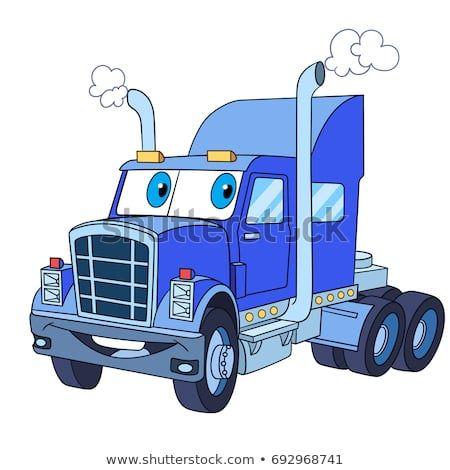 Cartoon Vehicle Transport Heavy Semi Truck Trailer Lorry