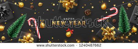Vectorsicon Com Download Vector Icons Happy New Year Banner Xmas Sparkling Lights Garland With Gifts Happy New Year Banner Christmas Poster New Year Banner
