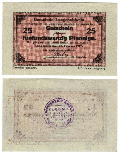 GERMANY 50 PFENNIGE HIMMER AUGSBURG NOTGELD BANKNOTES GUTSCHEIN 1917