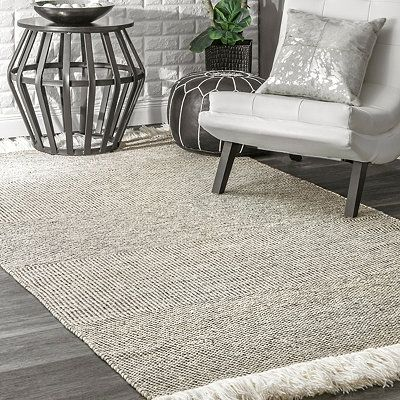Elsie Striped With Fringe Area Rug 5x8 Grey White Rug Grey Rugs Rugs