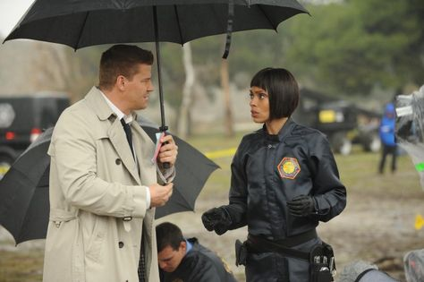 """Booth (David Boreanaz) and Cam (Tamara Taylor) from the """"The Don't in the Do"""" episode of BONES."""