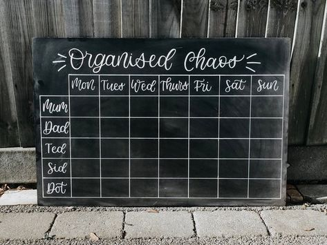 Large Weekly Family Planner Chalkboard / Command Centre. Hand   Etsy