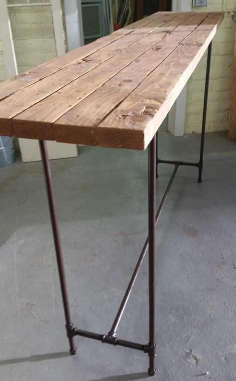 How to Make an Easy Bar Height Pipe Table - Amigas 4 All Outdoor Bar Height Table, Small Bar Table, Bar Top Tables, Bar Table Design, High Bar Table, Bar Height Dining Table, Wood Bar Table, Deck Table, Pipe Table